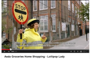 Asda's latest TV campaign shows a lollypop lady struggling with the idea of a four-shop shopping trip.