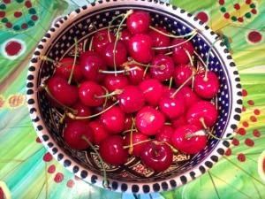 Fresh cherries from the market.
