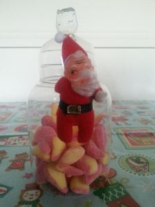 Pear drops from Candy Stripes sweet shop on Flixton Rd.  The vintage Santa is from Mrs M Vintage, just across the road.