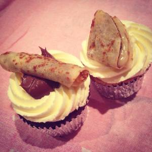 Pancake-Cupcakes: chocolate with Nutella and a Vanilla with lemon - on sale in Lily's at Eden.